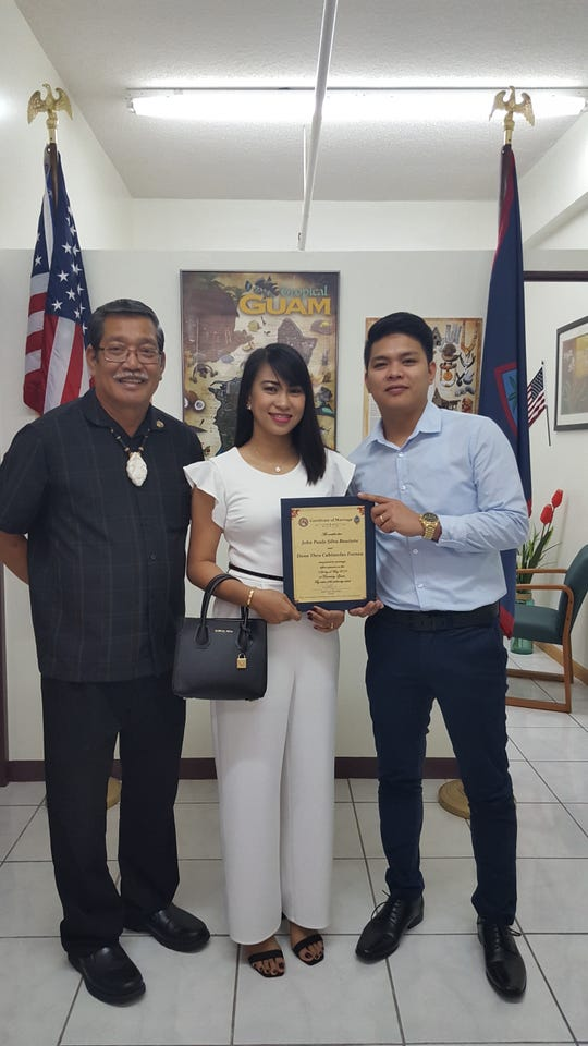 John Bautista and Dona Fornea were wed May 15 at the office of Sen. Joe S. San Agustin in Tamuning, surrounded by family and friends.