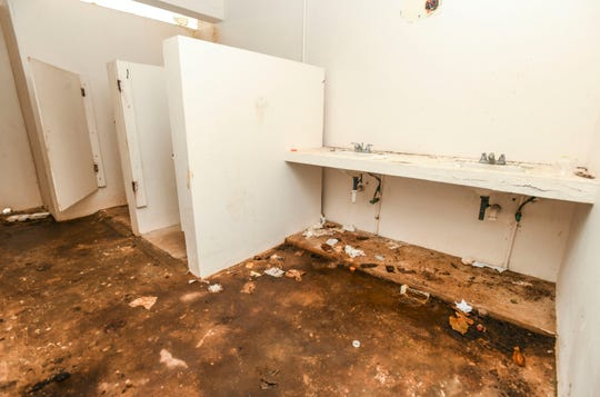 A look at the interior of the women's restroom facility at Taga'chang Beach Park on Thursday, May 16, 2019.