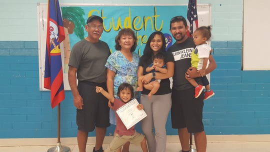 The Guahan Academy Charter School honored its April Student of the Month awardees on May 9. Pictured in front: Jacob Cruz. Back left: Joseph Cruz; Teresita Cruz, Dean of High School Guahan Academy Charter School; Christine Cruz with Lucas Cruz and Ethan Cruz with Elijah Cruz.