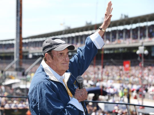 During his last appearance at Indianapolis Motor Speedway, Jim Nabors waves to fans before the 98th Indianapolis 500 on May 25, 2014.
