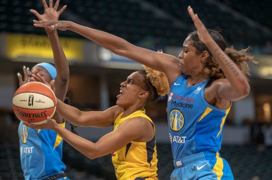 Paris Kea of Indiana, runs into defense by the Chicago Sky at Indiana Fever, WNBA preseason, Bankers Life Fieldhouse, Indianapoolis, Wednesday, May 15, 2019. Indiana won 76-65.