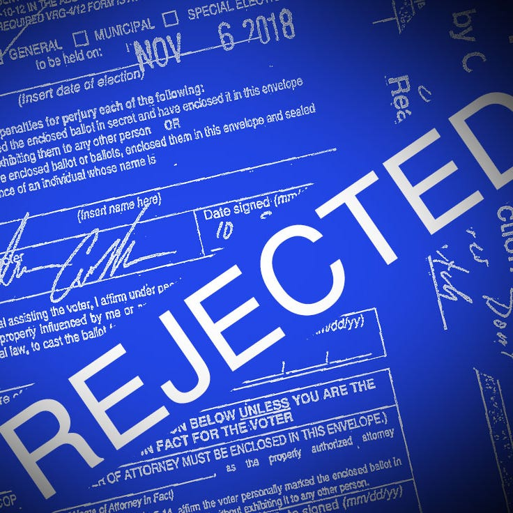An IndyStar photo illustration shows the rejected ballot of Indiana voter John Justin Collier, of St. Joseph County. Collier's is a plaintiff in a new federal lawsuit challenging Indiana's law.