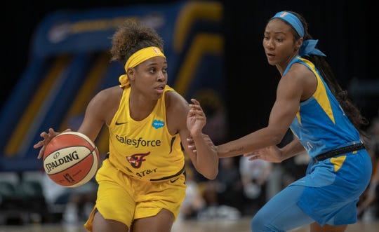 """The Fever's Kelsey Mitchell said """"Shots weren't going in. Some of them were tough, a little contested. (I was) trying to play within the rhythm of the game, shots just weren't falling."""""""