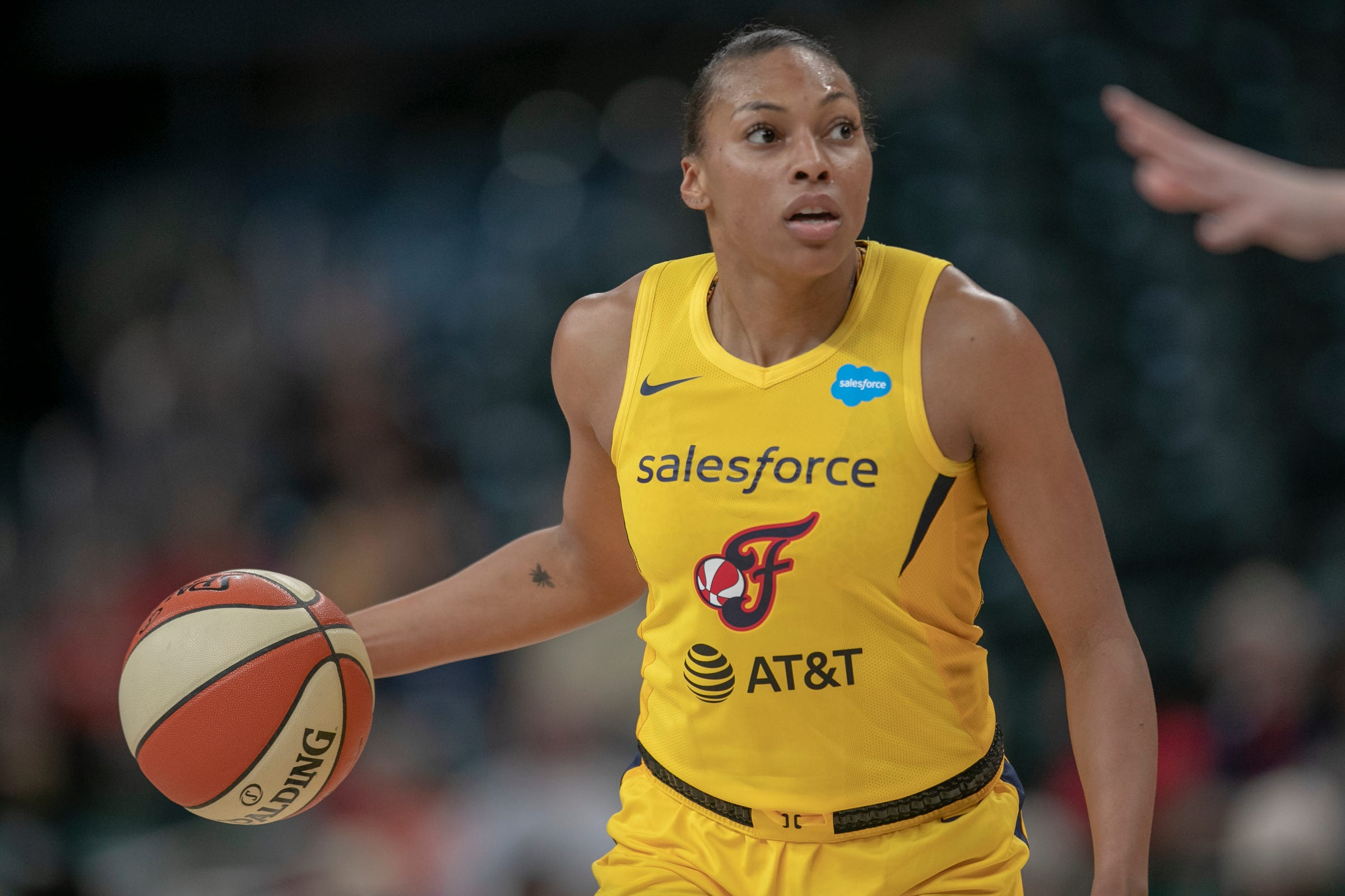 Betnijah Laney of Indiana, during game action, Chicago Sky at Indiana Fever, WNBA preseason, Bankers Life Fieldhouse, Indianapoolis, Wednesday, May 15, 2019. Indiana won 76-65.