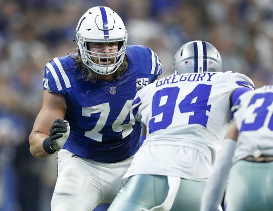 Indianapolis Colts offensive tackle Anthony Castonzo (74) prepares to block Dallas Cowboys defensive end Randy Gregory (94) in the second half of their game at Lucas Oil Stadium on Sunday, Dec. 16, 2018. The Colts shut out the Cowboys 23-0.
