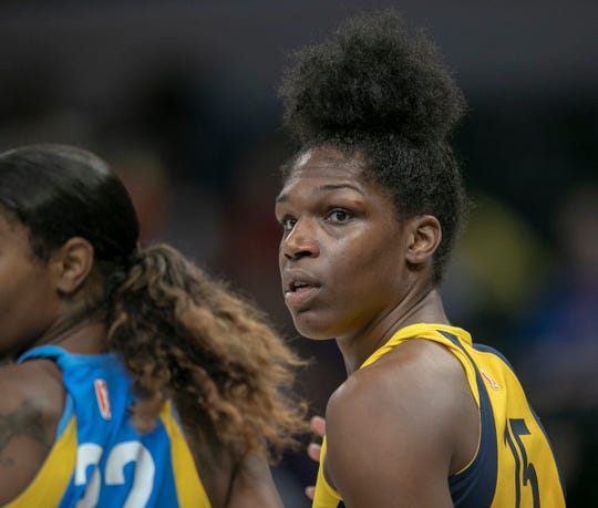 Teaira McCowan of Indiana, during game action, Chicago Sky at Indiana Fever, WNBA preseason, Bankers Life Fieldhouse, Indianapoolis, Wednesday, May 15, 2019. Indiana won 76-65.