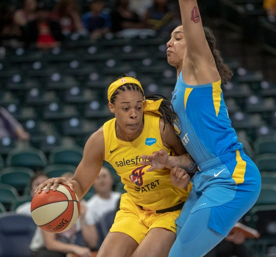 Erica McCall of Indiana, works a possession against Chloe Jackson of the Chicago Sky at Indiana Fever, WNBA preseason, Bankers Life Fieldhouse, Indianapoolis, Wednesday, May 15, 2019. Indiana won 76-65.