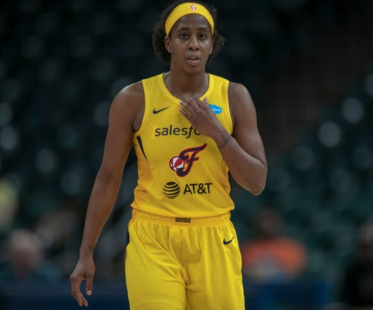 Shenise Johnson of Indiana, Chicago Sky at Indiana Fever, WNBA preseason, Bankers Life Fieldhouse, Indianapoolis, Wednesday, May 15, 2019. Indiana won 76-65.