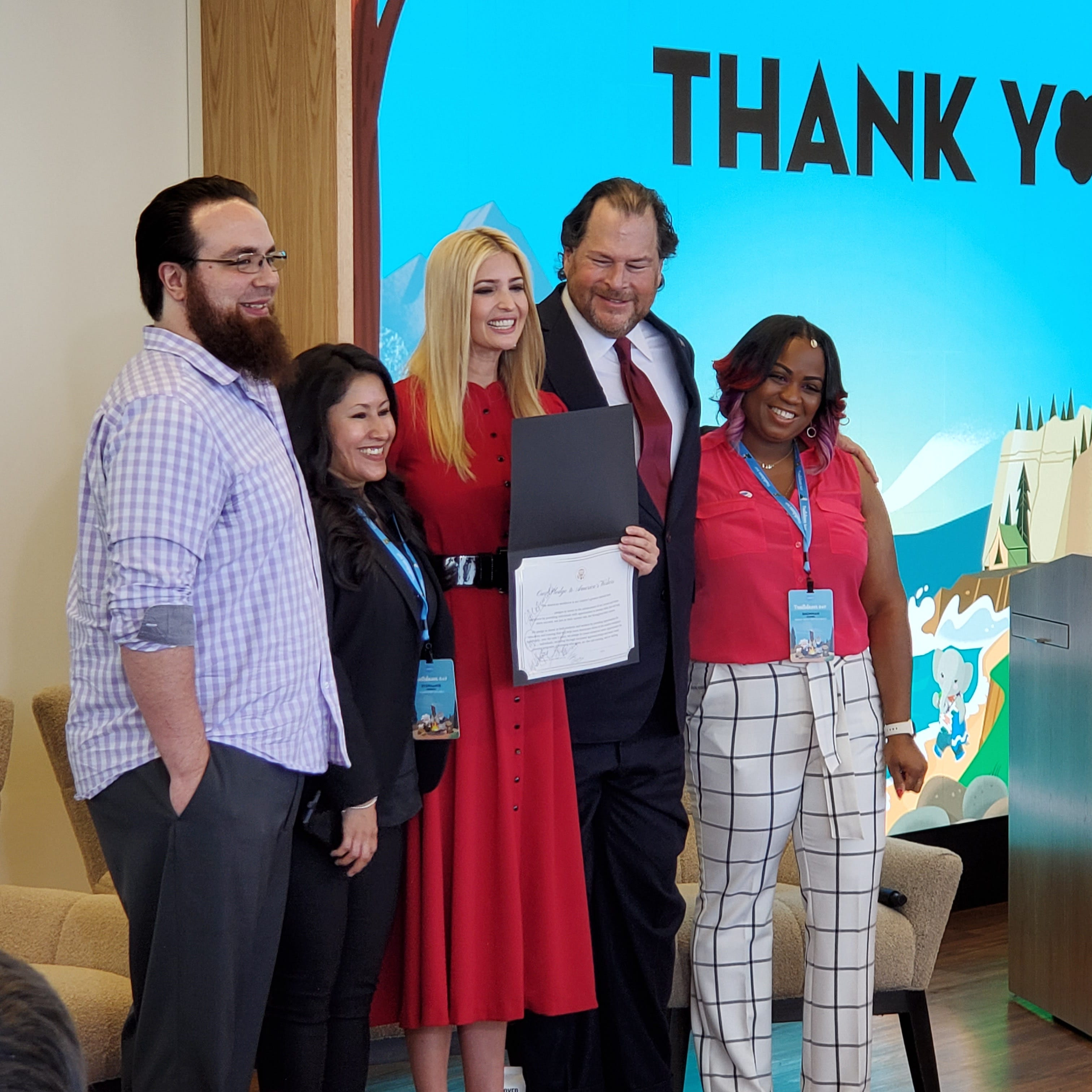 Salesforce CEO Marc Benioff pledges to train 1 million workers during Ivanka Trump visit
