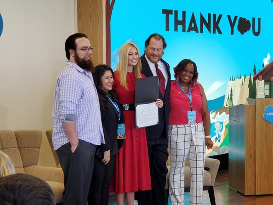 Zac Otero, Stephanie Herrera, Ivanka Trump, Marc Benioff and Shonnah Hughes pose for a photo after signing the White House Pledge to America's Workers. In a surprise move, Benioff upped the Salesforce training commitment over the next five years from 500,000 workers to 1,000,000 workers.
