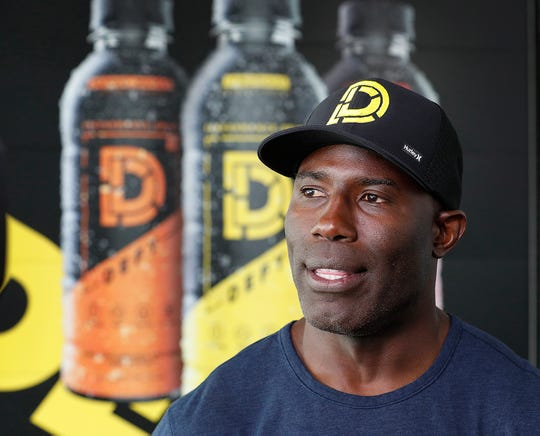 Former Denver Bronco and pro football Hall-of-famer Terrell Davis at the Indianapolis Motor Speedway on Thursday, May 16, 2019. Davis and DEFY CBD-based performance drink have teamed up and are a sponsor Arrow Schmidt Peterson Motorsports.