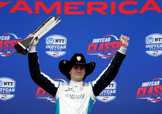 Harding Steinbrenner Racing rookie Colton Herta celebrates his victory Sunday in the IndyCar Classic at Circuit of the Americas  Eric Gay/AP Harding Steinbrenner Racing rookie Colton Herta celebrates his victory Sunday in the IndyCar Classic at Circuit of the Americas