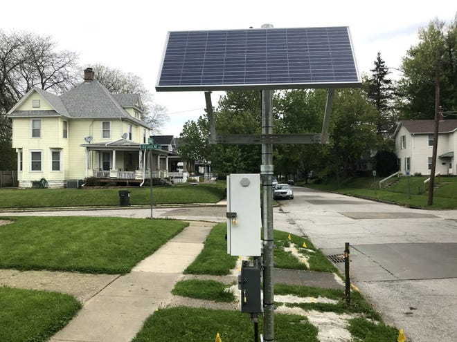 MidAmerican Energy Company is installing monitoring and gas pressure control points to add additional safety controls as they begin the replacement of 343 miles of natural gas lines. Pictured, one such meter in Davenport, Iowa.
