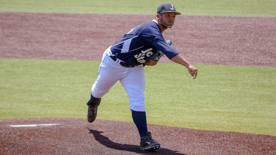 Jackson State's Garth Cahill throws a pitch during a game against Arkansas-Pine Bluff on Thursday, May 16.