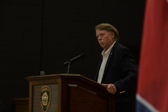 Madison County Sheriff John Mehr speaks at a Child Homicide Conference at the West Tennessee Regional Training Center in Denmark on May 15, 2019.