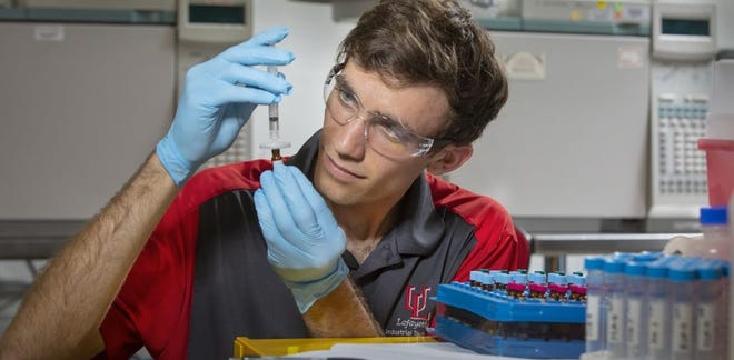 Jacob LeBlanc's thesis utilized both of his masters degrees to study microbial fuel cells and how they could potentially be a sustainable energy source.