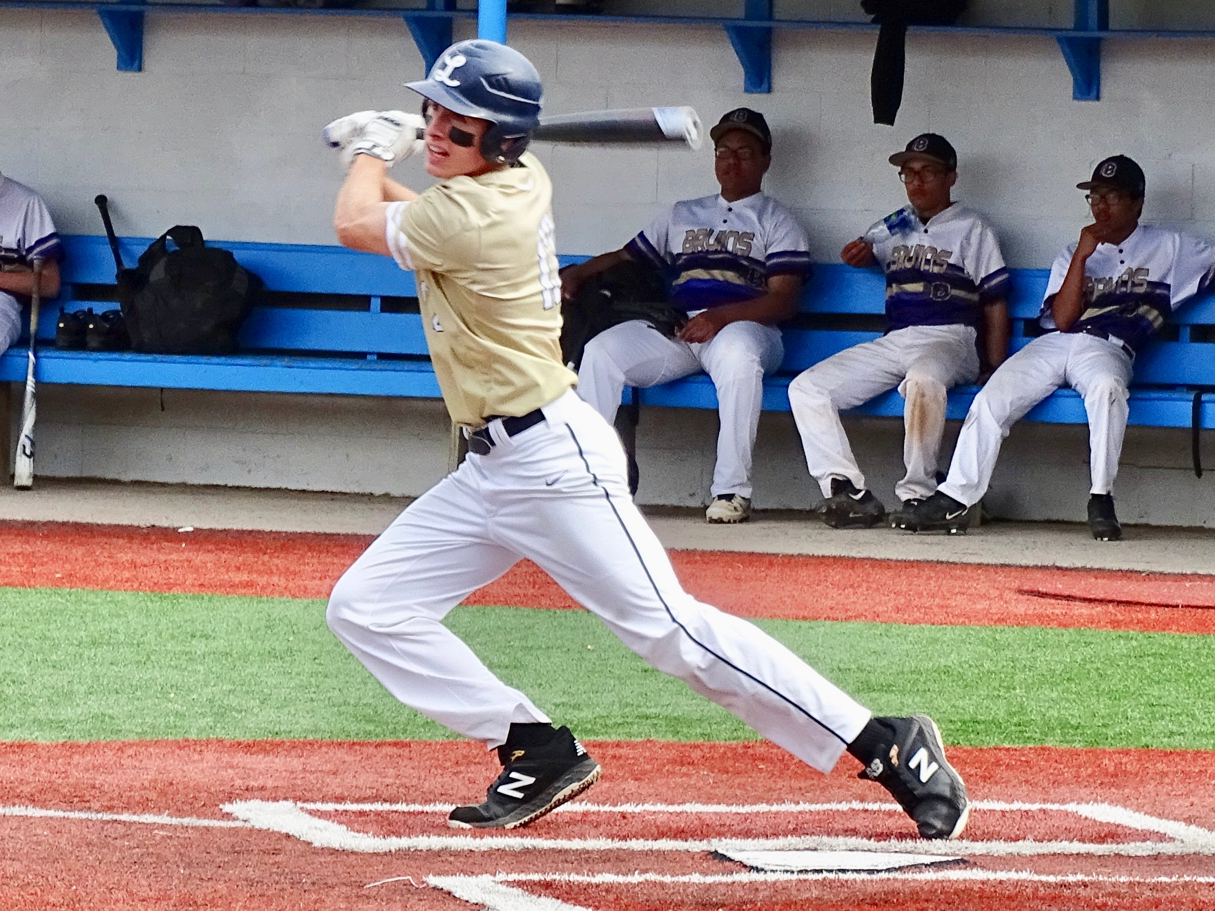 Lancaster's Casey Finck hits an RBI triple in the first inning of the Golden Gales' 5-0 tournament win over Briggs.