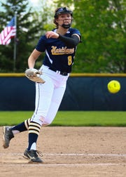 Hartland's Rachel Everett threw a three-hit shutout, striking out 10, in a 6-0 victory over Brighton on Wednesday, May 15, 2019.