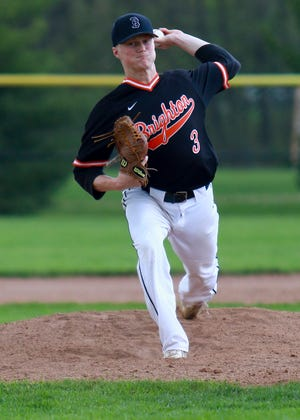 Brighton's Zach Hopman pitched a three-hit shutout and struck out 15 batters in six innings in a 10-0 victory at Hartland on Wednesday, May 15, 2019.