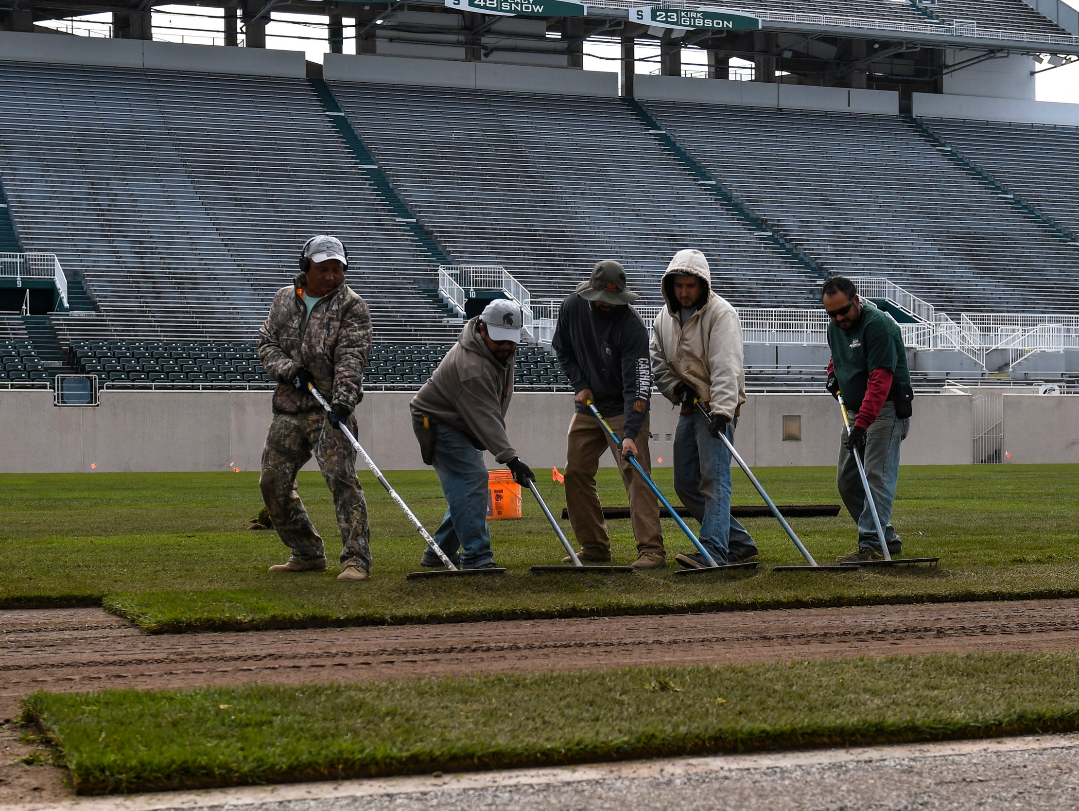 A crew of workers installed this week new Kentucky bluegrass sod on the football field at Michigan State's Spartan Stadium in East Lansing. About 375 rolls of new bluegrass will cover nearly 70,000 square feet of stadium's playing surface.