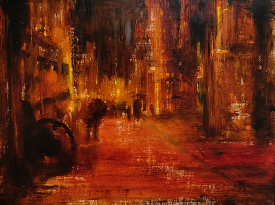 """Razmin Ahmadzadah is one of six """"emerging artists"""" selected for the East Lansing Art Festival May 18-19, 2019. His oil painting is called  """"Last Night's Dream."""""""
