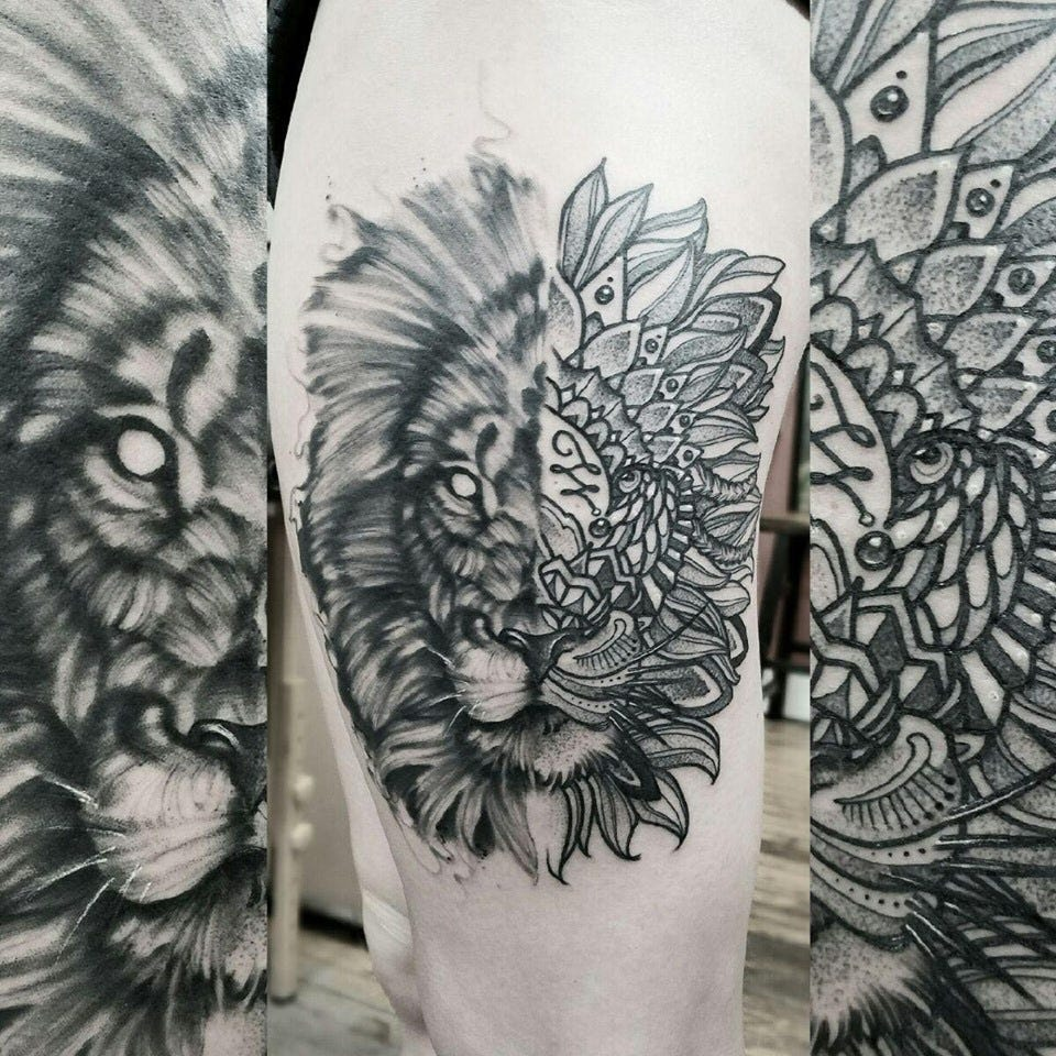 The middle image is of a Lion tattoo Alyssa Lyen had done by Cam Pohl on her thigh. Pohl is a Lansing tattoo artist. He will be a contestant on a tattoo reality TV show that debuts next month.