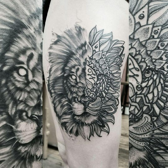"The middle image is of a Lion tattoo Alyssa Lyen had done by Cam Pohl on her thigh. Pohl is a tattoo reality TV show called ""Ink Master."" It airs 10 p.m. Tuesdays on the Paramount Network."