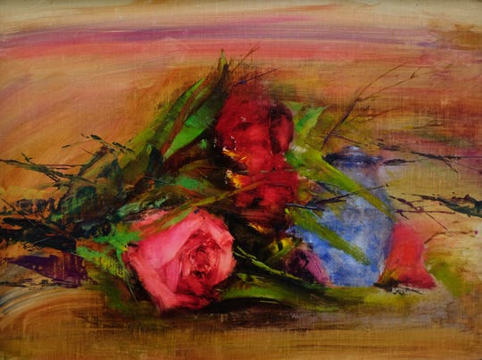 """Razmin Ahmadzadah is one of six """"emerging artists"""" selected for the East Lansing Art Festival May 18-19, 2019. His oil painting is called  """"Rose 2."""""""
