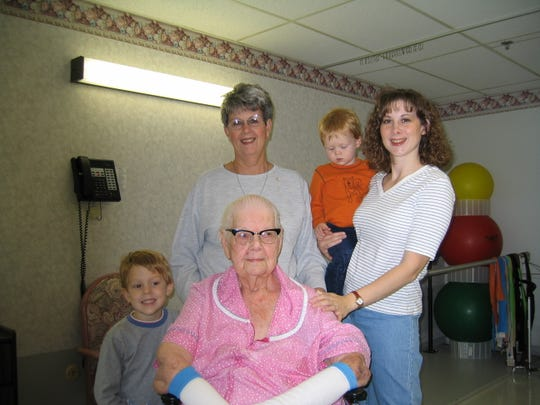 A family photo taken in 2002 of  Gladys McKimmy with her great-grandson Bradley Pohl, her daughter, Nancy Bailey, and granddaughter Michelle Pohl holding great-grandson Jordan Pohl. McKimmy told Michelle Pohl the story of Richard McKimmy before she died.