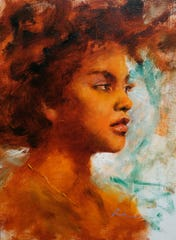 """Razmin Ahmadzadah is one of six """"emerging artists"""" selected for the East Lansing Art Festival May 18-19, 2019. His oil painting is called  """"The Gold."""""""