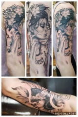 "These are photos of a tattoo Alyssa Lyen had done on her arm by Cam Pohl, a Lansing tattoo artist. Pohl is a contestant on a reality TV show called ""Ink Master."""