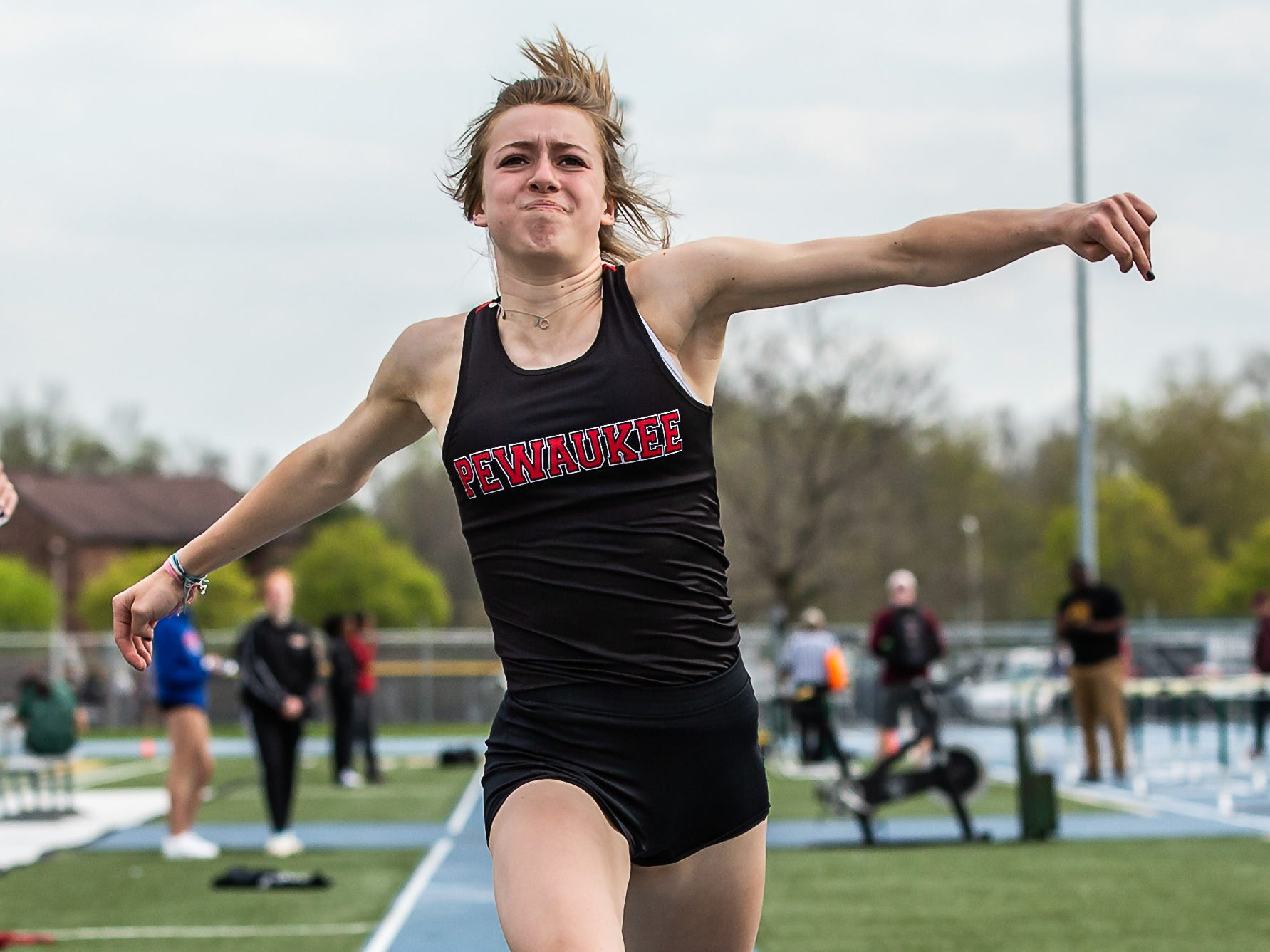 Pewaukee's Jordan Berglin competes in the girls triple jump at the Woodland Conference Track and Field Championships in West Allis on Tuesday, May 14, 2019. Berglin placed third in the event.