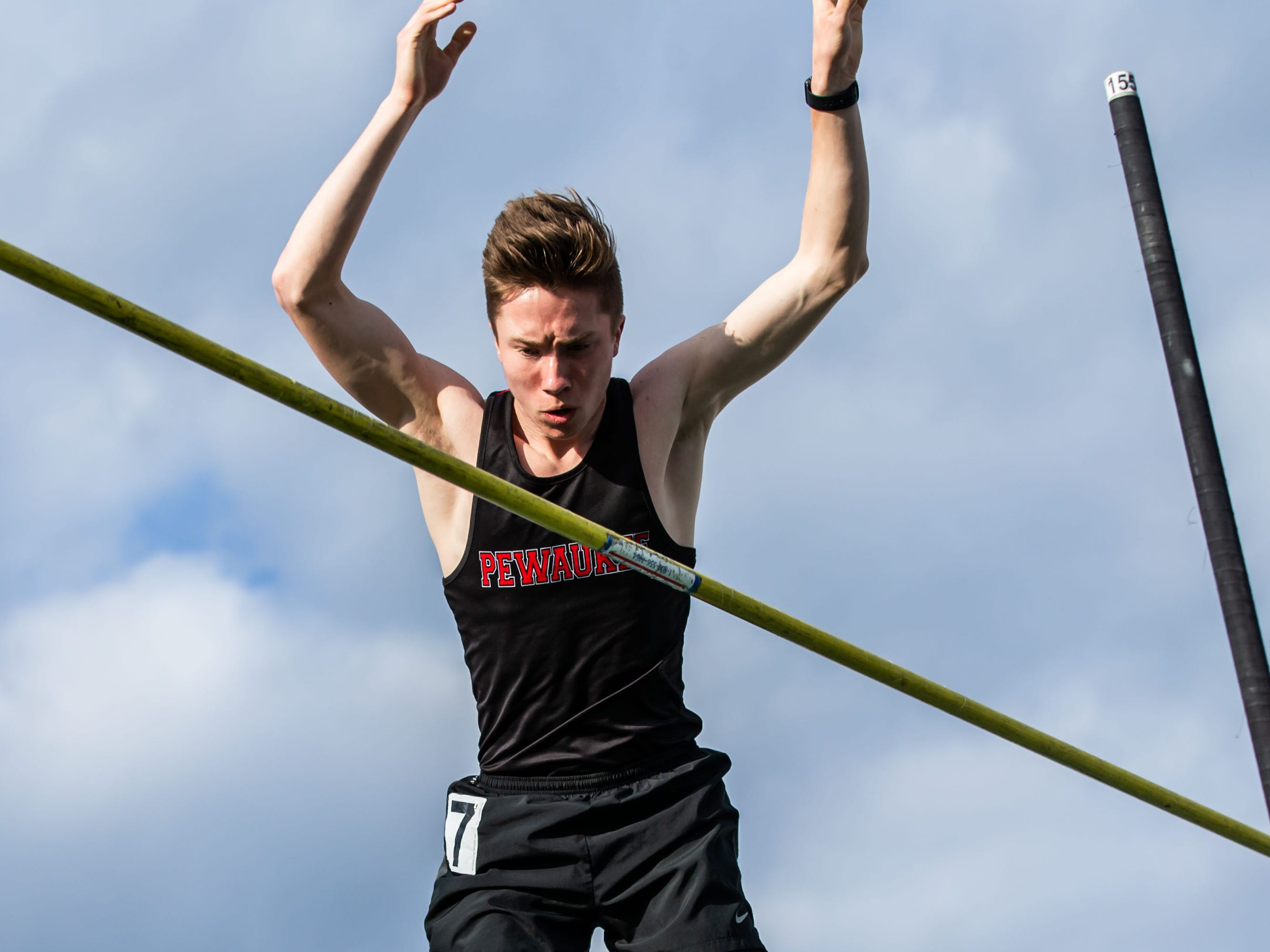 Pewaukee's Joey Thomas places second in the pole vault at the Woodland Conference Track and Field Championships in West Allis on Tuesday, May 14, 2019.