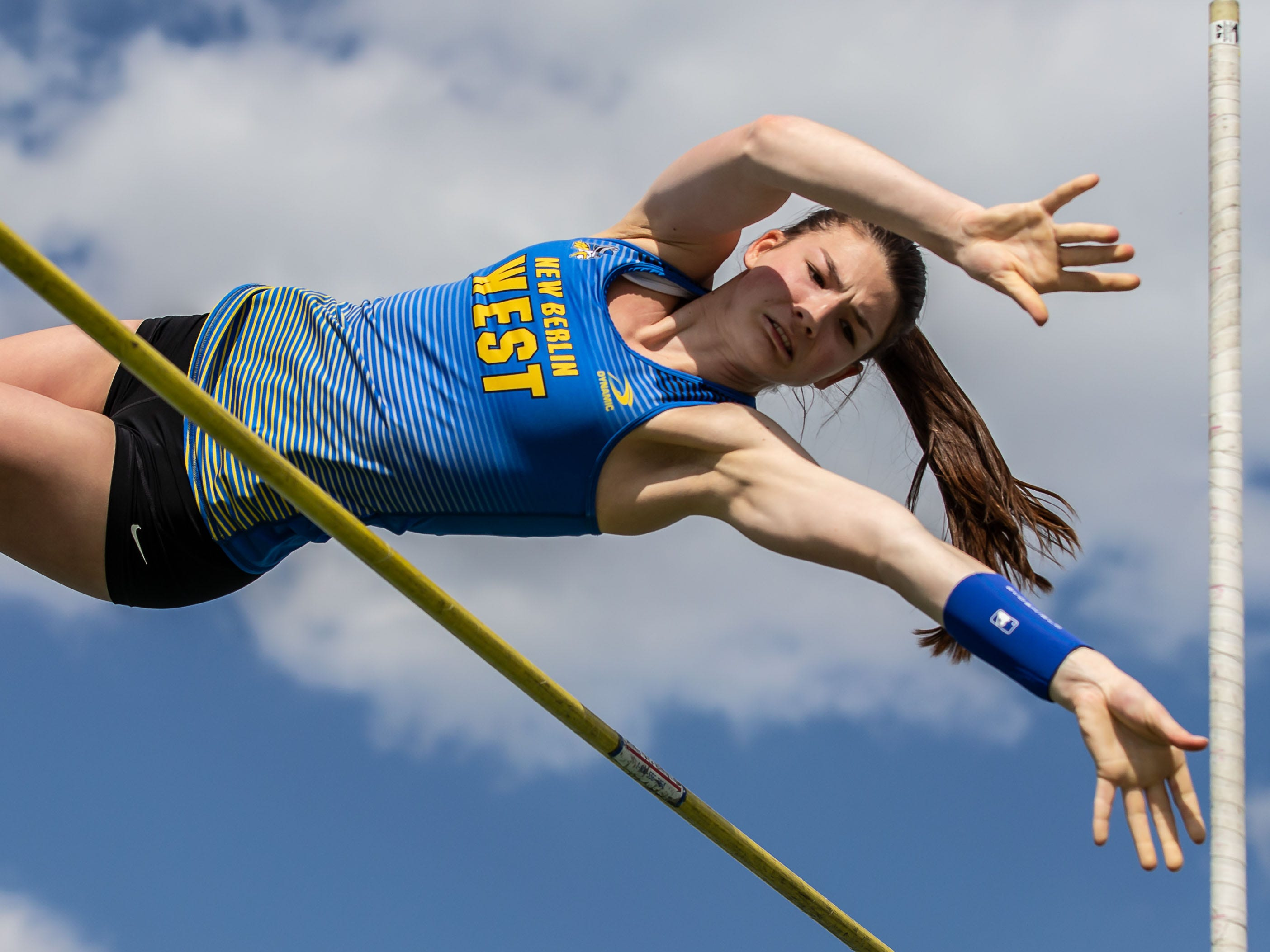 New Berlin West's Jacqueline Gerovac wins the girls pole vault at the Woodland Conference Track and Field Championships in West Allis on Tuesday, May 14, 2019.