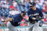Christian Yelich hit two home runs against the Phillies.
