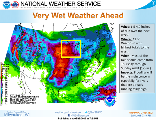 Forecast models are calling for heavy rain across Wisconsin for the coming weekend.