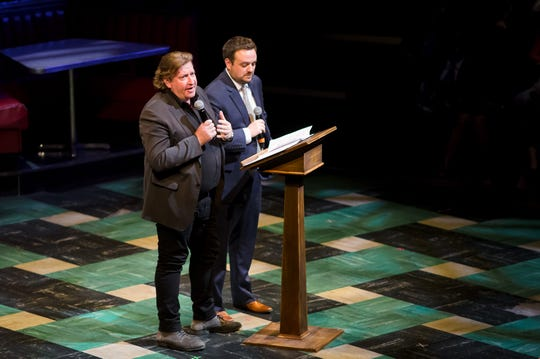 2019: Artistic director Mark Clements and executive director Chad Bauman speak to the Curtain Call Ball audience.