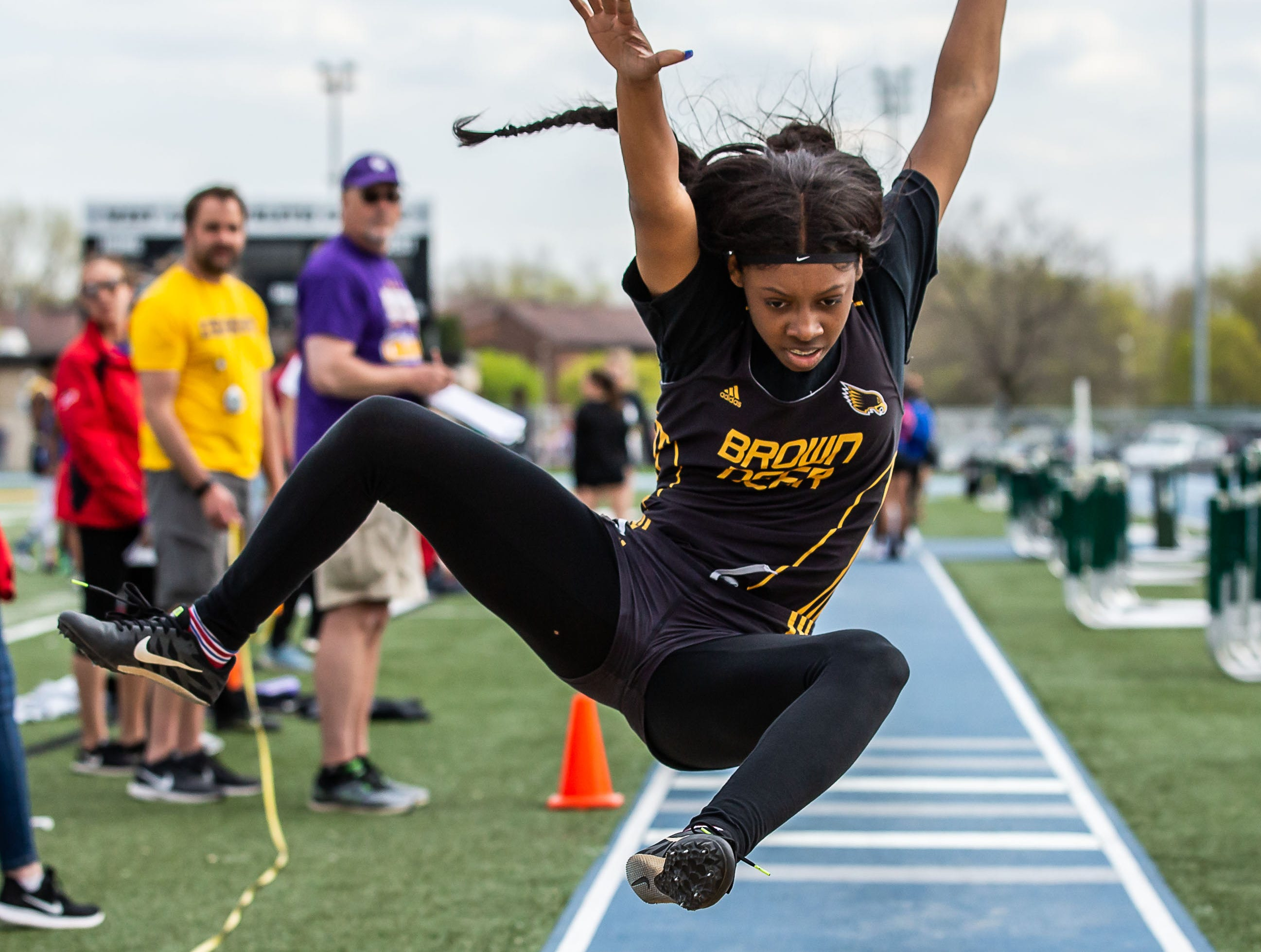 Brown Deer's Ameerah McClain places second in the girls triple jump at the Woodland Conference Track and Field Championships in West Allis on Tuesday, May 14, 2019.