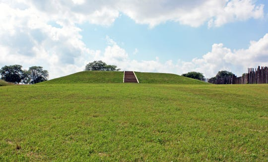 Aztalan State Park is a National Historic Landmark that showcases restored flat-topped mounds built by Native Americans who lived in the area between A.D. 1050 and 1200.