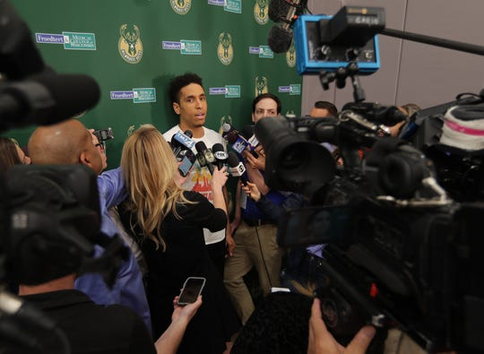Milwaukee Bucks Malcolm Brogdon answers questions from the media after the Milwaukee Bucks practice at the Sports Science Center in Milwaukee