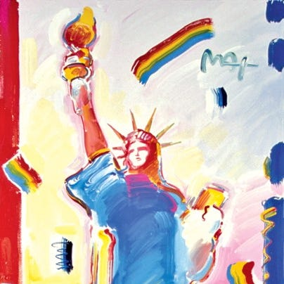Statue of Liberty Museum features colorful Peter Max painting inspired by fireworks