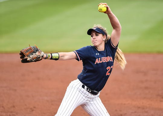 Auburn's Lexie Handley (27) pitches against Florida during the SEC Tournament on Friday, May 10, 2019, in College Station, TX.