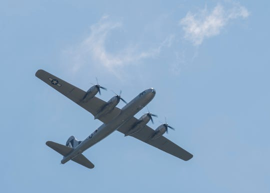 The B-29 Superfortress flies over Montgomery Aviation in Montgomery, Ala., on Thursday, May 16, 2019.