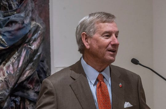 """Montgomery Mayor Todd Strange the addition of five African-American works by Alabama artists at the Montgomery Museum of Fine Arts """"has a significance th the whole historical movement"""" for Montgomery, during the announcement on Tuesday, May 14, 2019."""