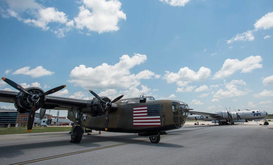 B-24, left and B-29 Superfortress arrive at Montgomery Aviation in Montgomery, Ala., on Thursday, May 16, 2019.