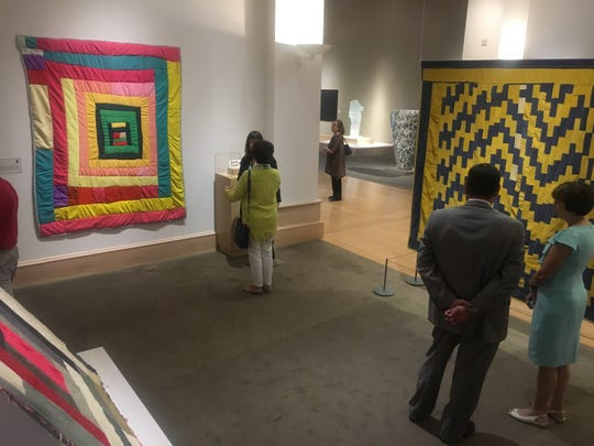 These three Gee's Bend quilts, from left, Housetop Variation (about 1950) by Joanna Pettway, Pig in a Pen Medallion (about 1970) by Minnie Sue Coleman, and Bars/Strips (about 1975) by Emma Mae Hall Pettway, are part of five new works by African-American artists from Alabama joining the permanent collection at the Montgomery Museum of Fine Arts on Tuesday, May 14, 2019.