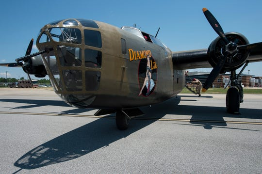 The B-24 arrives at Montgomery Aviation in Montgomery, Ala., on Thursday, May 16, 2019.