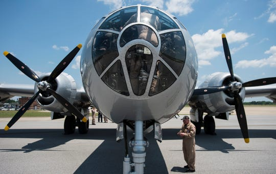 The B-29 Superfortress arrives at Montgomery Aviation in Montgomery, Ala., on Thursday, May 16, 2019.