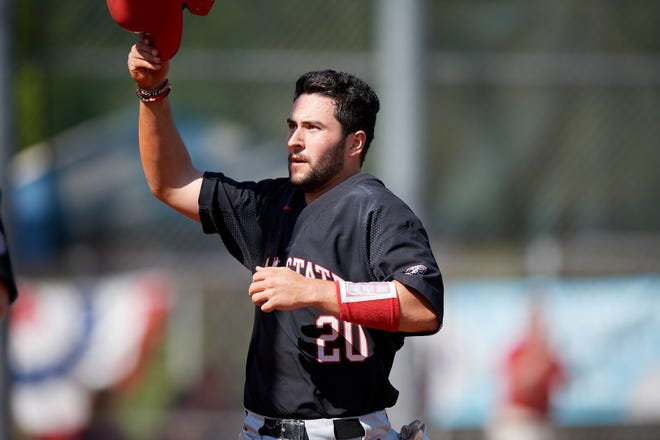 Ball State Cardinals catcher Chase Sebby during a game against the Saint Joseph's Hawks on March 9, 2019 at North Charlotte Regional Park in Port Charlotte, Florida.