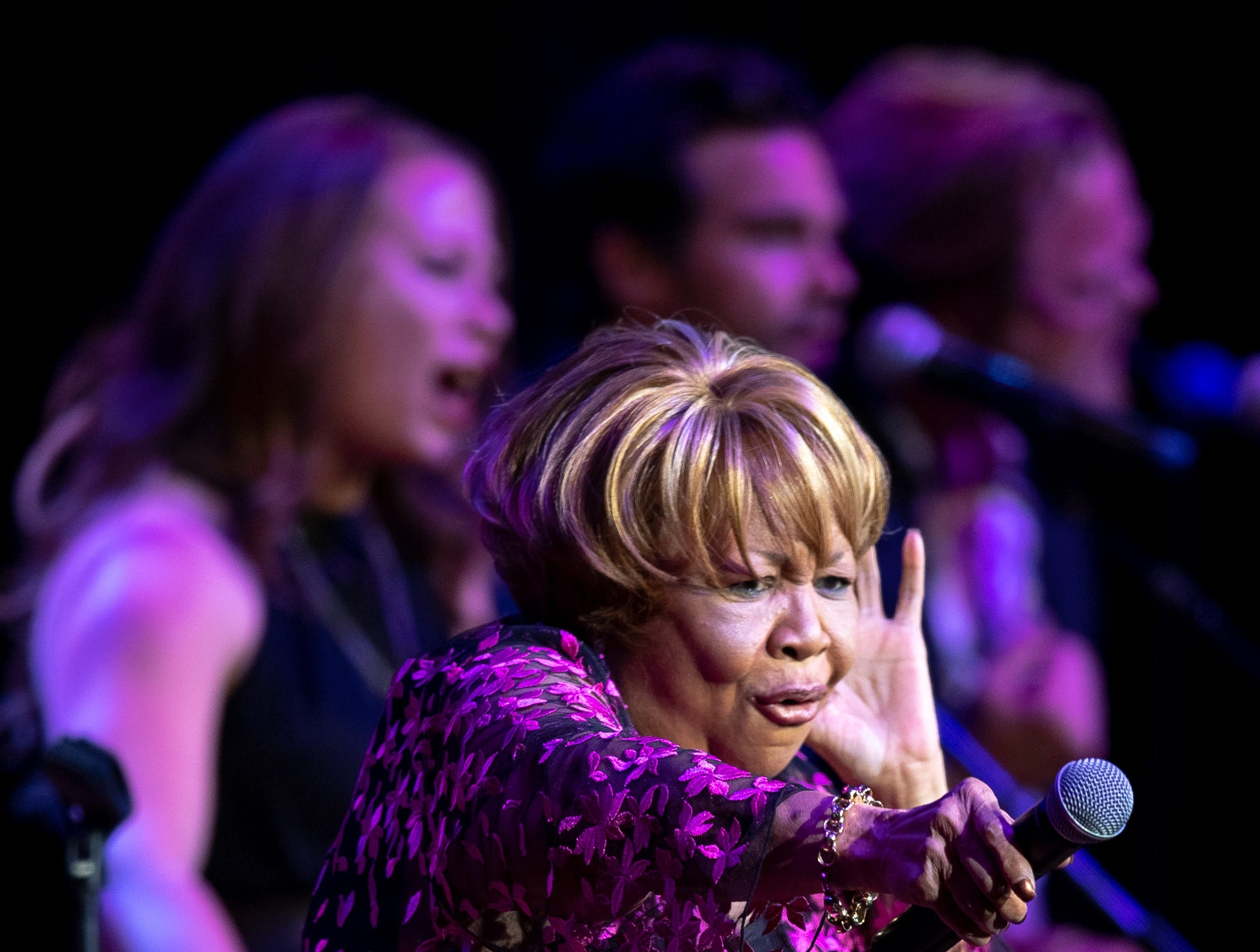 Mavis Staples performs with The Lone Bellow during the Mavis and Friends concert at the Ryman Auditorium in Nashville, Tenn., Wednesday, May 15, 2019.